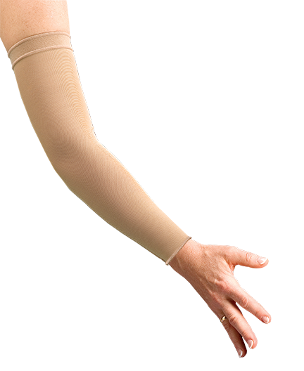compression therapy arm sleeve with gauntlet and zipper