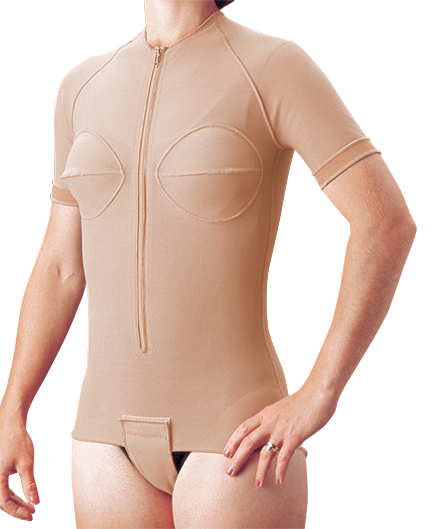 Compression therapy suit with short sleeve and velcro flap